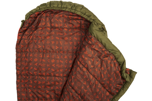 Close up of Kelty Boy's Big Dipper 30 sleeping bag, opened to show dark red interior fabric with various camping  graphics