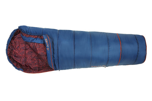Kelty Girl's Big Dipper 30 sleeping bag, blue, unzipped quarter length to show burgundy paisley pattern on interior fabric, with bottom section expanded for extra length