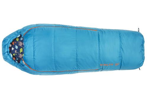 Kelty Boy's Woobie 30 sleeping bag, blue colorway, top view, closed