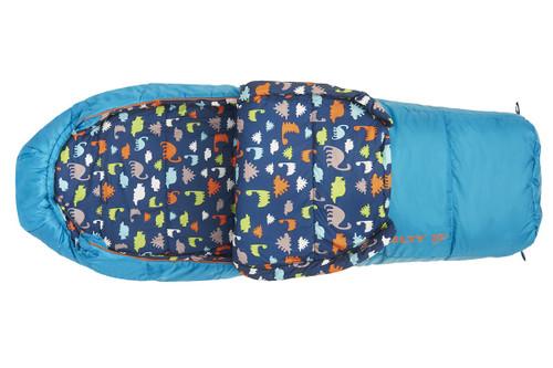 Kelty Boy's Woobie 30 sleeping bag, blue colorway, top view, opened