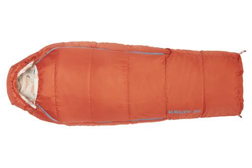 Kelty Girl's Woobie 30 sleeping bag, orange, fully zipped