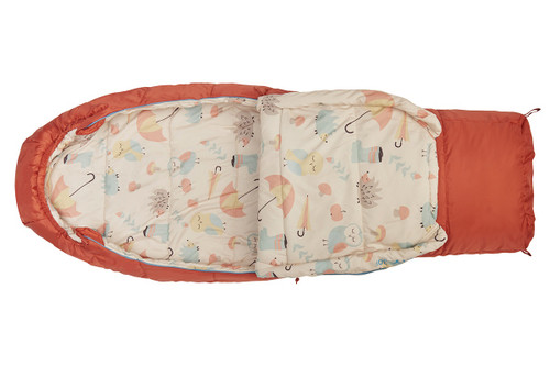 Kelty Girl's Woobie 30 sleeping bag, orange, unzipped 1/3 length to show whimsical interior fabric, with birds, porcupines, mushrooms and umbrellas in muted colors