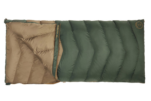 Kelty Galactic 30 Dridown sleeping bag, unzipped quarter length to show tan interior of bag