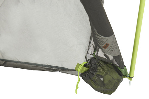 Close up of Kelty Noah's Screen 12 screen house, showing green webbing rolled up and stored in mesh storage bag