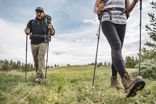 Two hikers with Kelty Cirque trekking poles