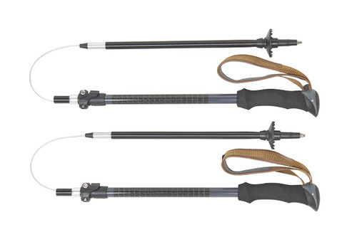 Kelty Origami trekking poles, set of two, shown with pole sections separated from each other