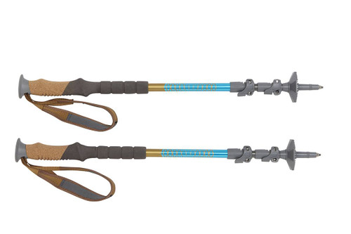 Kelty Cairn trekking poles, blue/black, set of 2, fully collapsed