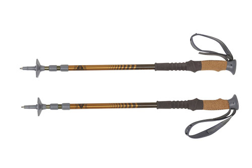Kelty Range 2.0 trekking poles, gold, set of two, shown fully collapsed