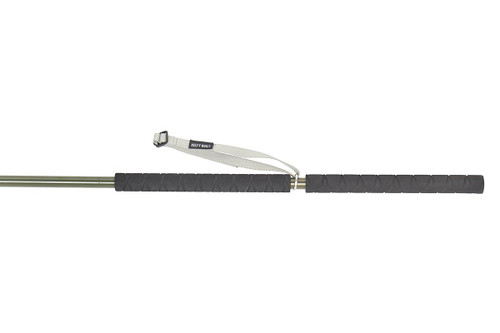 Close up of Kelty Strider Hiking Staff handle, showing black foam grip and white nylon wrist strap