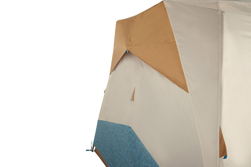 Close up of Kelty Sequoia 4 person tent, showing how tent allows air flow through nylon side vent