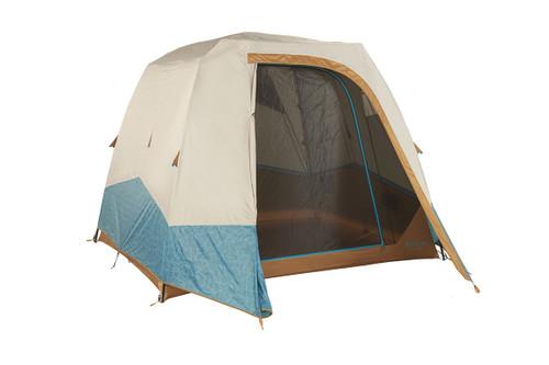 Kelty Sequoia 4 person tent, shown with tan/teal rain fly attached and fully opened