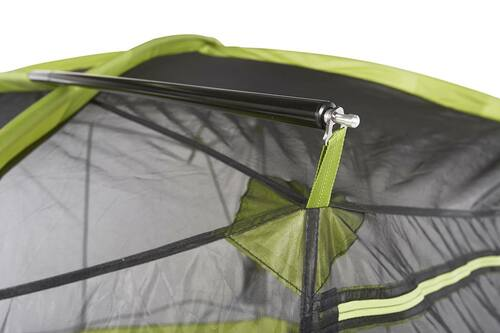 Close up of Kelty Sequoia 4 person tent, showing how ridge pole attaches to top of tent with metal clips