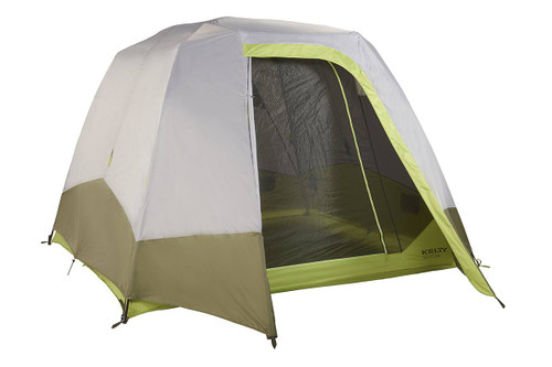 Kelty Sequoia 6 person tent, shown with gray/tan rain fly attached and fully opened