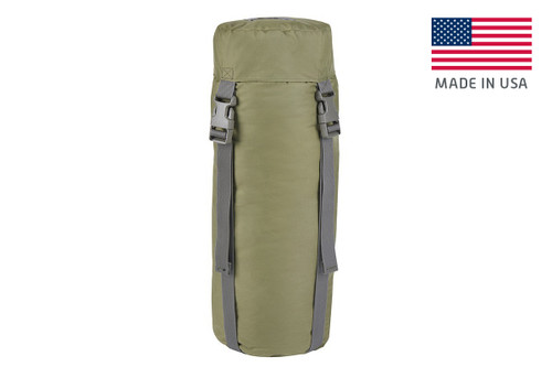 Kelty Varicom Compression Sack, shown fully packed, with lid attached and buckled