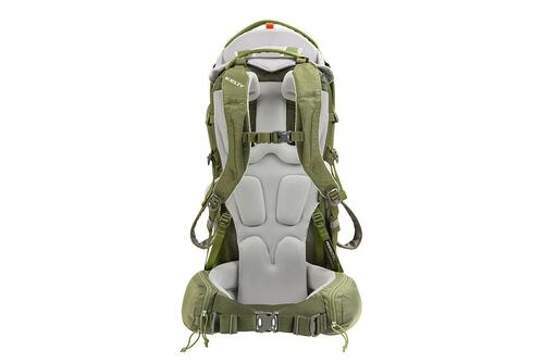 Kelty Journey PerfectFIT Signature child carrier backpack, Moss Green, rear view, showing padded shoulder straps and waistbelt