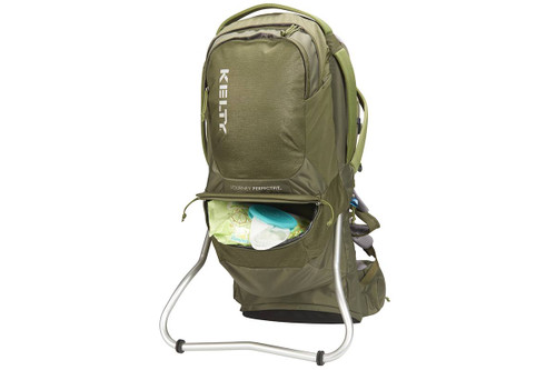 Kelty Journey PerfectFIT Signature child carrier backpack, Moss Green, front view, with lower storage compartment unzipped