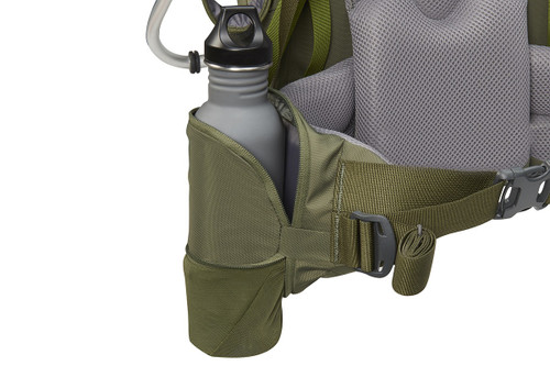 Close up of Kelty Journey PerfectFIT Signature child carrier backpack, showing large water bottle in side pocket