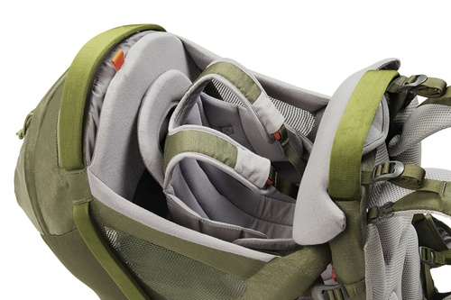 Close up of Kelty Journey PerfectFIT Signature child carrier backpack, showing shoulder straps for child