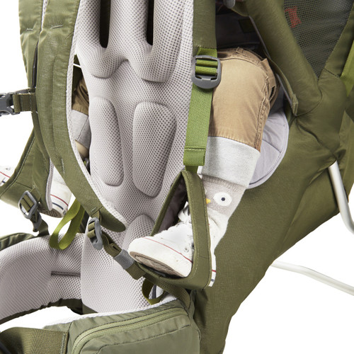Close up of Kelty Journey PerfectFIT Signature child carrier backpack, showing adjustable foot stirrups for child