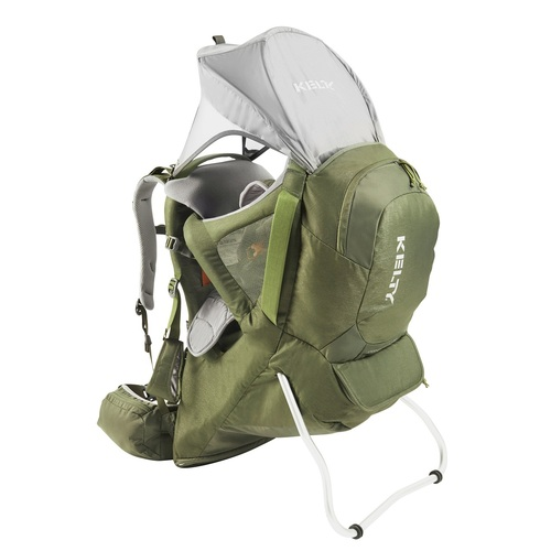 Kelty Journey PerfectFIT Signature child carrier backpack, Moss Green, showing sunshade deployed over top of pack