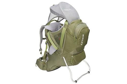 Kelty Journey PerfectFIT Elite child carrier backpack, Moss Green, showing sunshade deployed over top of pack