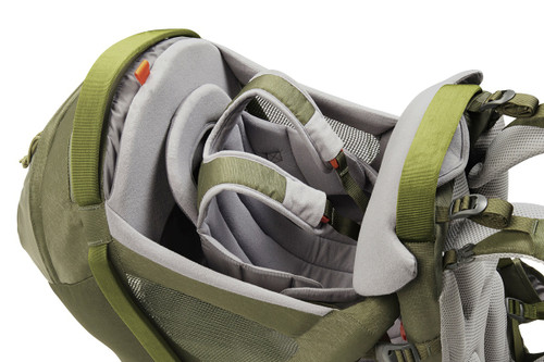 Close up of Kelty Journey PerfectFIT Elite child carrier backpack, showing shoulder straps for child