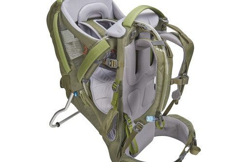 Close up of Kelty Journey PerfectFIT Elite child carrier backpack, showing hydration reservoir tube attached to shoulder strap