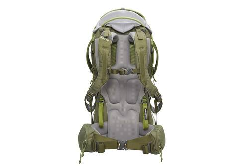 Kelty Journey PerfectFIT Elite child carrier backpack, Moss Green, rear view, showing padded shoulder straps and waistbelt
