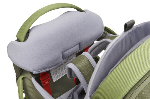 Close up of Kelty Journey PerfectFIT Elite child carrier backpack, showing padded, removable drool pad