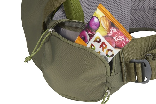 Close up of Kelty Journey PerfectFIT Elite child carrier backpack, showing snacks stored in zippered waistbelt pocket