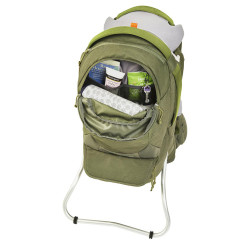 Kelty Journey PerfectFIT Elite child carrier backpack, Moss Green, front view, with upper storage compartment unzipped