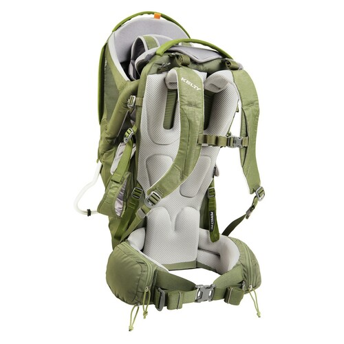 Kelty Journey PerfectFIT Elite child carrier backpack, Moss Green, alternate rear view, showing padded shoulder straps and waistbelt