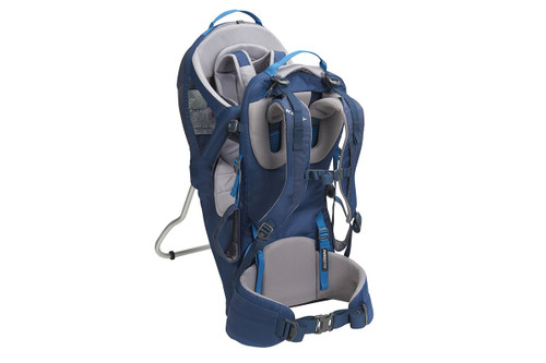 Kelty Journey PerfectFIT child carrier backpack, Insignia Blue, alternate rear view, showing padded shoulder straps and waist belt