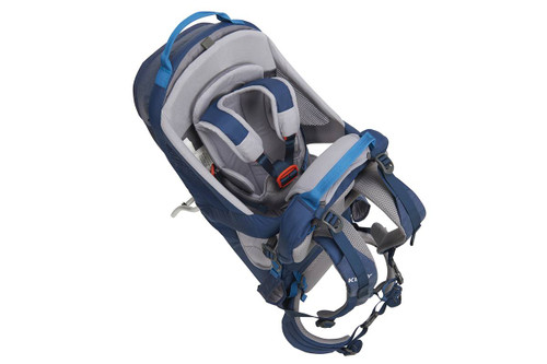 Kelty Journey PerfectFIT child carrier backpack, Insignia Blue, top view, showing shoulder straps for child