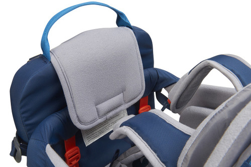 Close up of Kelty Journey PerfectFIT child carrier backpack, showing  padded, removable drool pad