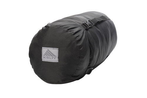 Kelty Tactical 30 Degree Field Bag, black, shown packed inside black cylinder-shaped storage bag