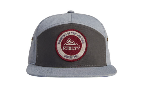Kelty 7 Panel PITW Hat, dark gray/light gray, with embroidered Kelty logo and 'Pooping in the woods since 1952' text, front view