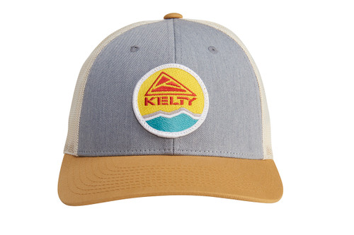 Kelty Mountain Trucker Hat, light gray/off white, with colorful embroidered Kelty logo, front view