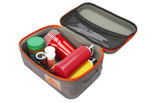 Large Kelty Cache Box, grey, opened to show storage of ketchup bottle, mustard bottle, salt and pepper shakers, and cups