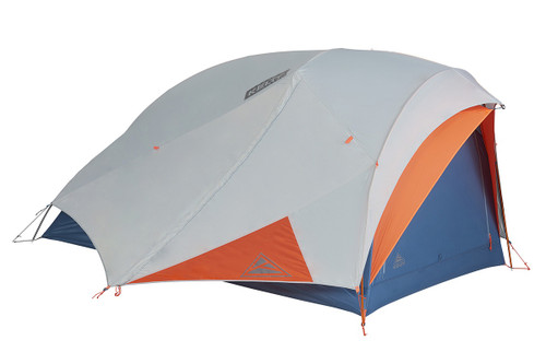 Kelty All Inn 2 Person Tent, blue colorway, side view, with white rain fly attached and closed