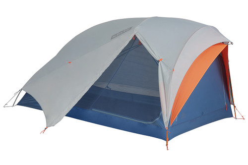 Kelty All Inn 2 Person Tent, blue colorway, side view, with white rain fly attached and opened