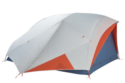 Kelty All Inn 3 Person Tent, blue colorway, side view with white rain fly attached and closed