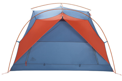Kelty All Inn 3 Person Tent, blue colorway, front view with rain fly removed
