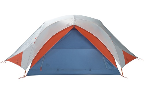Kelty All Inn 3 Person Tent, blue colorway, front view with white rain fly attached and closed