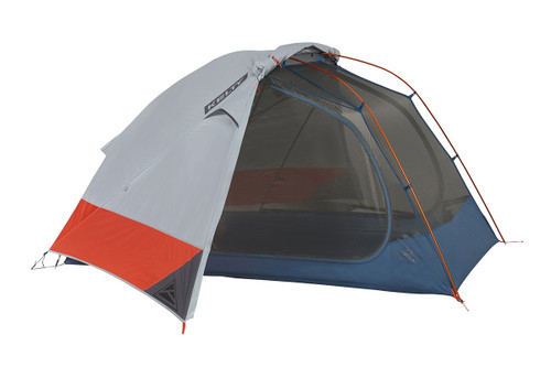 Kelty Dirt Motel 2 person tent, blue, side view, with rain fly attached and partially opened