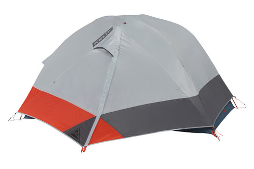 Kelty Dirt Motel 2 person tent, blue, side view, with rain fly attached and fully closed