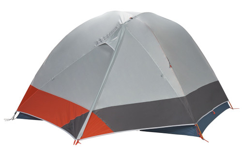 Kelty Dirt Motel 3 person tent, blue, side view, with rain fly attached and fully closed