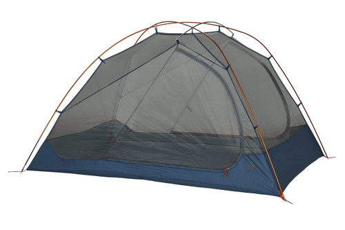 Kelty Dirt Motel 3 person tent, blue, side view, with rain fly removed
