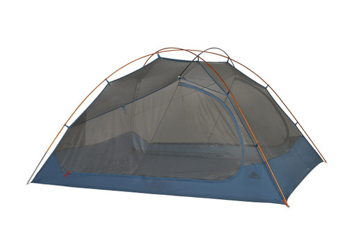 Kelty Dirt Motel 4 person tent, blue, side view, with rain fly removed