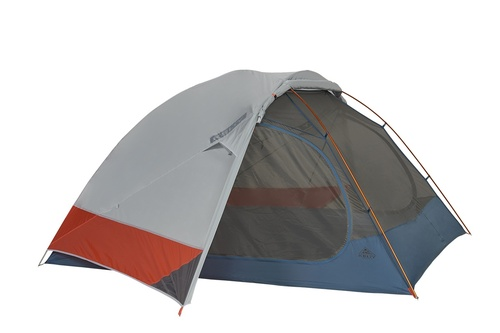 Kelty Dirt Motel 4 person tent, blue, side view, with rain fly attached and partially opened